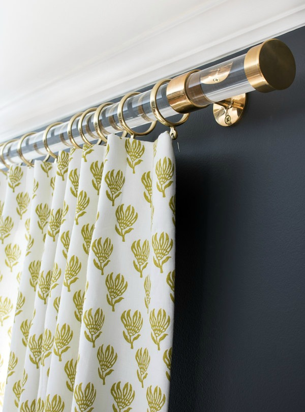Acrylic and brass drapery rods - so glam!