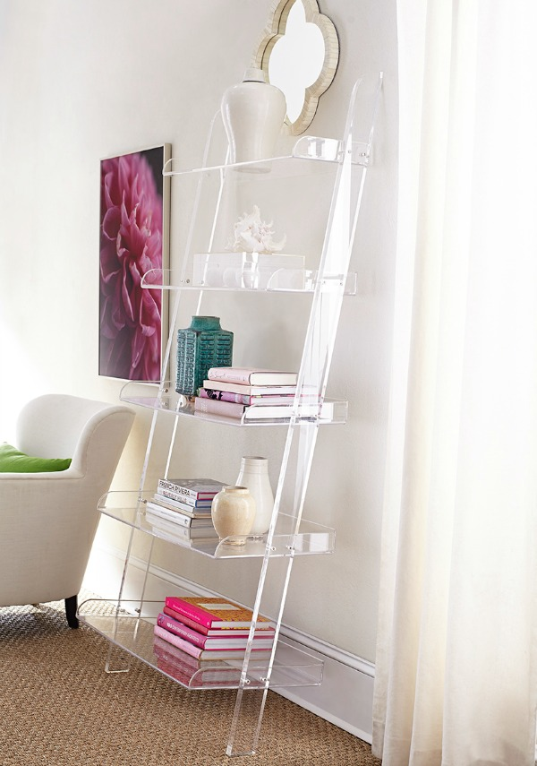 Acrylic leaning bookshelf - so chic!