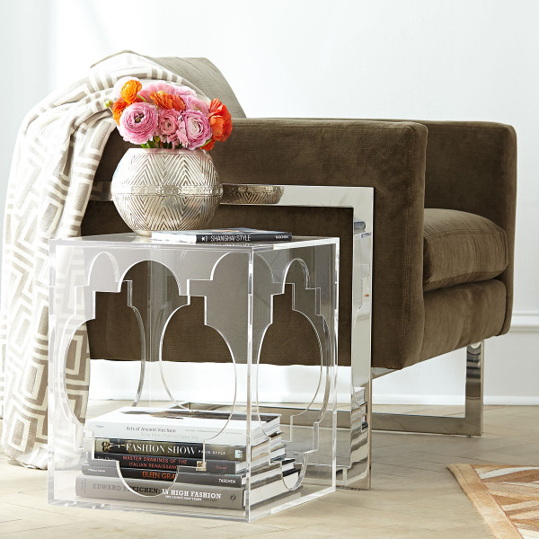 Acrylic side table - absolutely love the quatrefoil design!