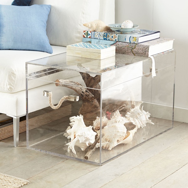 An acrylic trunk makes an interesting side table when filled with natural elements