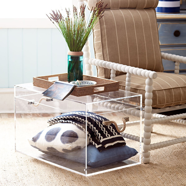 Clear acrylic trunk - perfect for storing pretty pillows and blankets