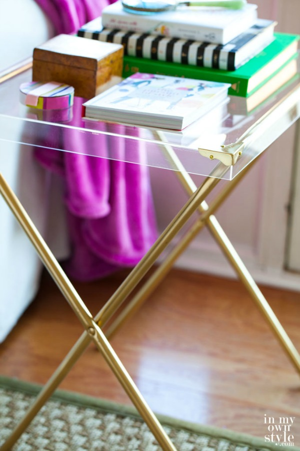 DIY acrylic and brass side table