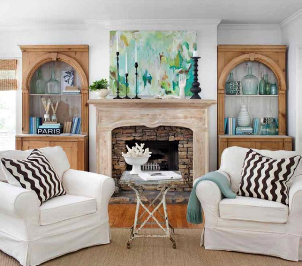 Family room decorated for spring - Sherry Hart of Design Indulgence