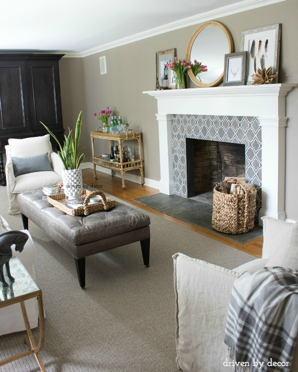 Family room in neutrals - love the fireplace!