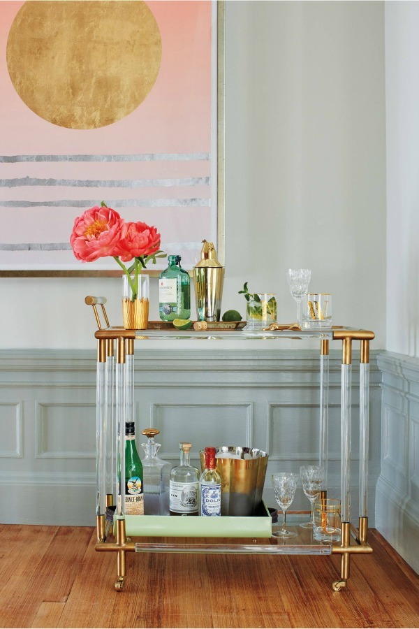 Gorgeous lucite and gold bar cart