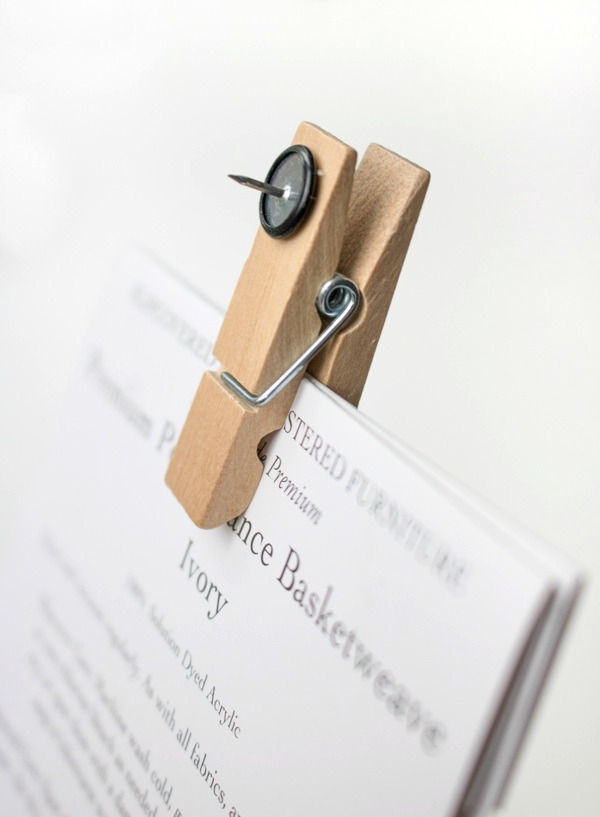 Hot glue a thumbtack to the back of a clothespin for the perfect bulletin board clip!