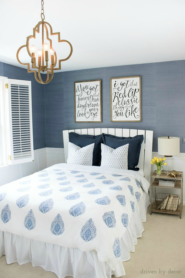 Light Blue Grasscloth Wallpaper | Gold Quatrefoil Pendant | Hand Blocked  Quilt