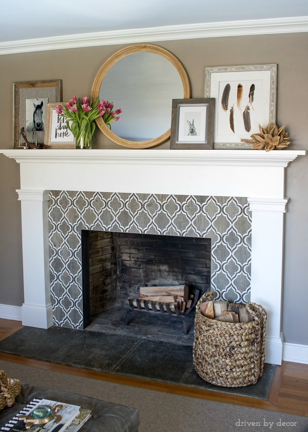 Our living room fireplace mantel decorated for spring!