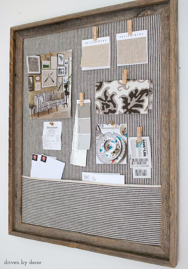 simple diy cork bulletin board love the fabric pocket