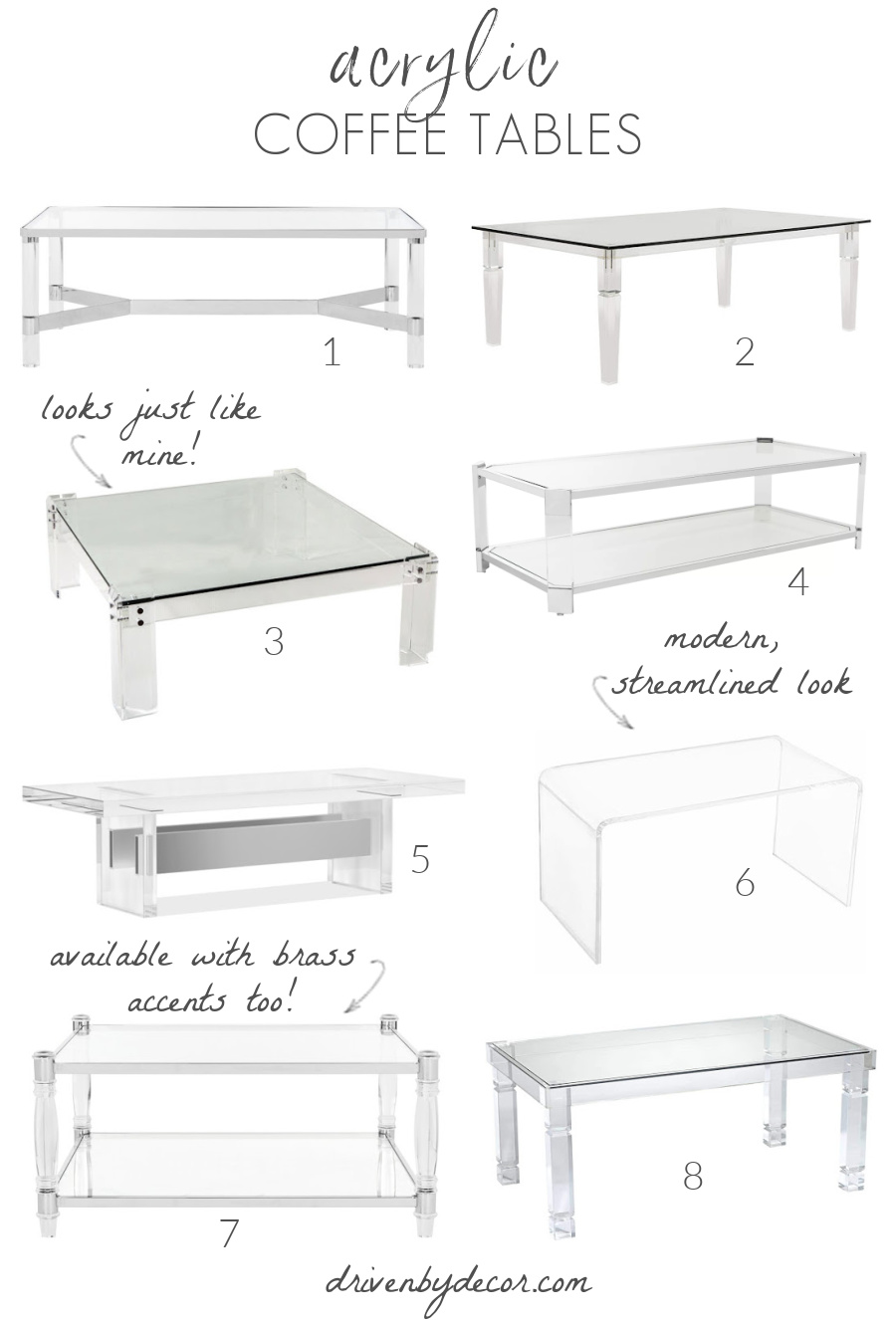 Love these acrylic coffee tables!