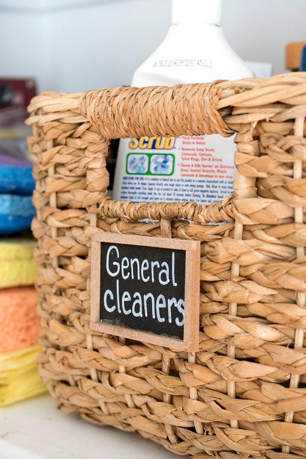 A favorite closet organization tip - label storage baskets with mini chalkboards!