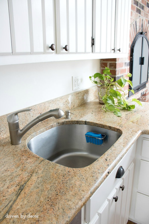 Add a simple suction cup sponge holder to your kitchen sink!