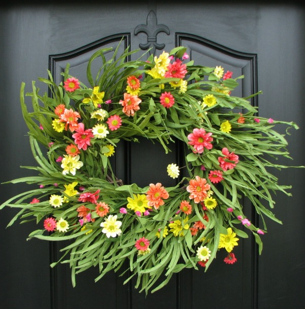 Colorful floral spring wreath - beautiful!