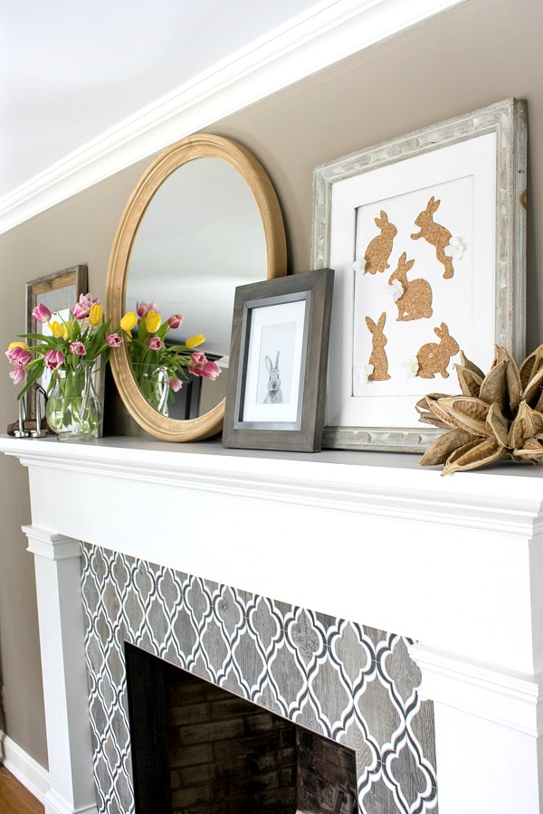 Fireplace mantel decorated for spring - includes DIY cork bunny art!