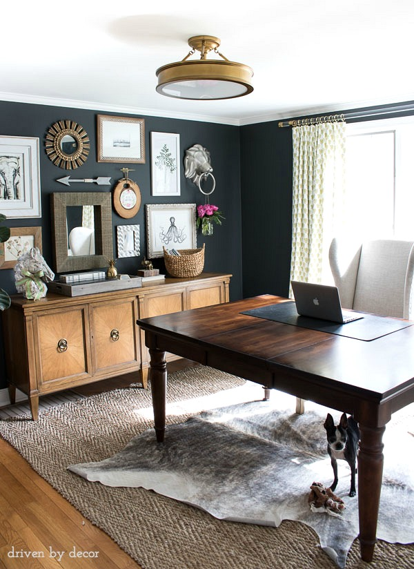 Home office with charcoal gray walls (Benjamin Moore Nightfall)