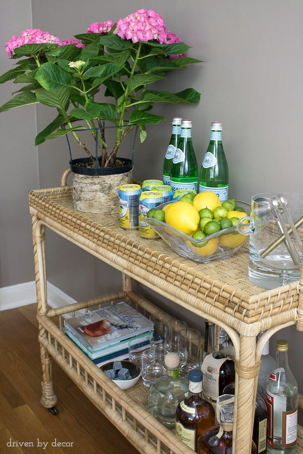 Rattan cart that's perfect as a bar for drinks in the living room or for a coffee station in the kitchen