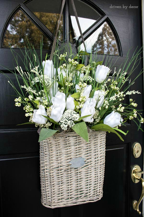 Best Take A Flatbacked Basket And Fill It With Floral Foam And Flowers For  The With Flower For Front Door
