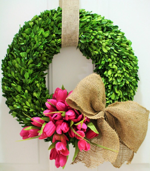 Tulip boxwood wreath for spring - would love this for my front door!