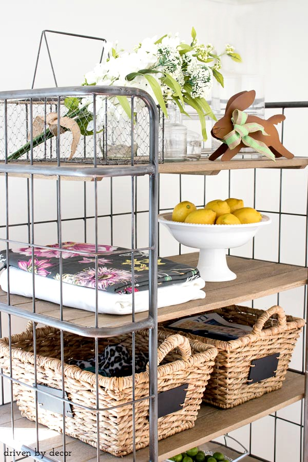 Vintage-style baker's rack with spring touches!