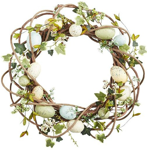 The cutest grapevine and speckled egg wreath for spring!