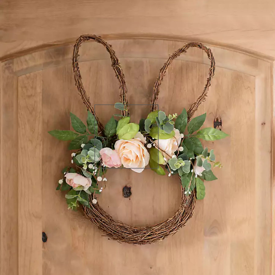 Darling spring grapevine wreath of bunny head with roses
