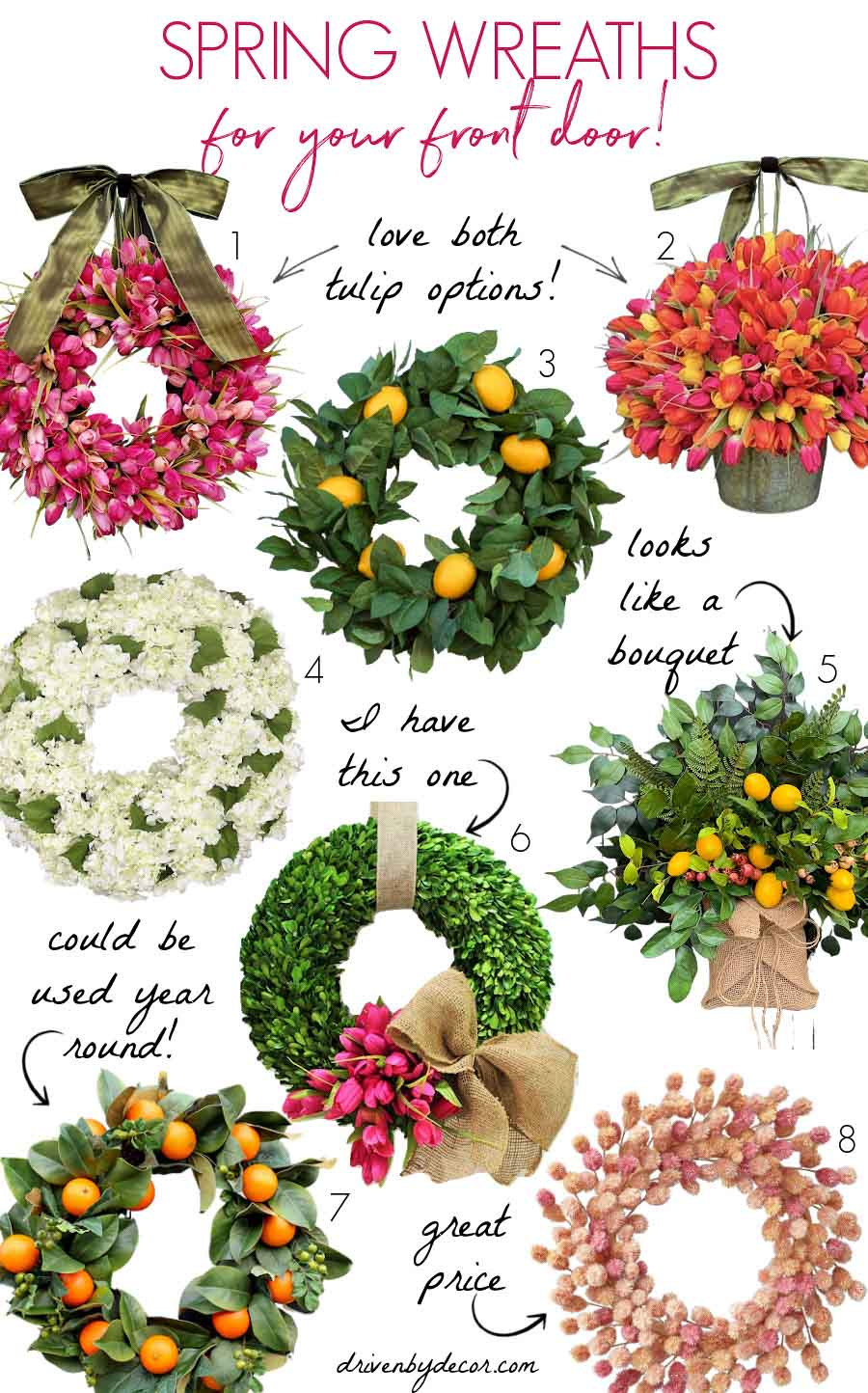 Gorgeous spring wreaths for your front door!