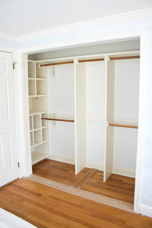 Replacing bi fold closet doors with curtains our closet for Adding a walk in closet