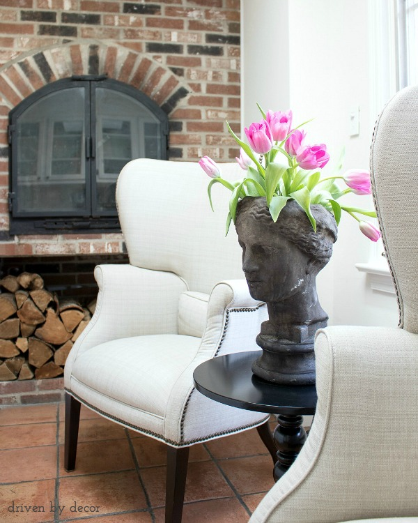 Concrete lady's head planter - love!