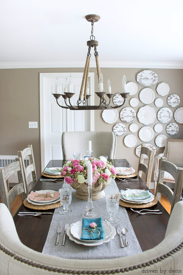 Dining room in neutrals with a simple spring tablescape