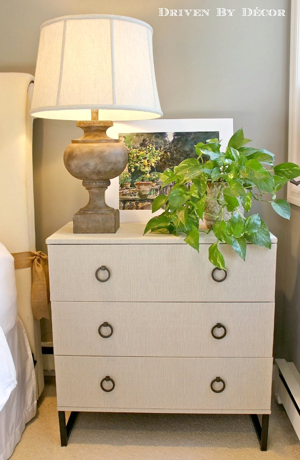 IKEA Trysil Chest transformed into a high-end fabric-covered dresser
