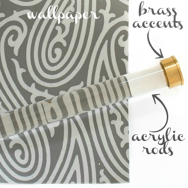 Plans for our master bedroom closet makeover - fabulous Farrow & Ball wallpaper and acrylic rods with brass accents!