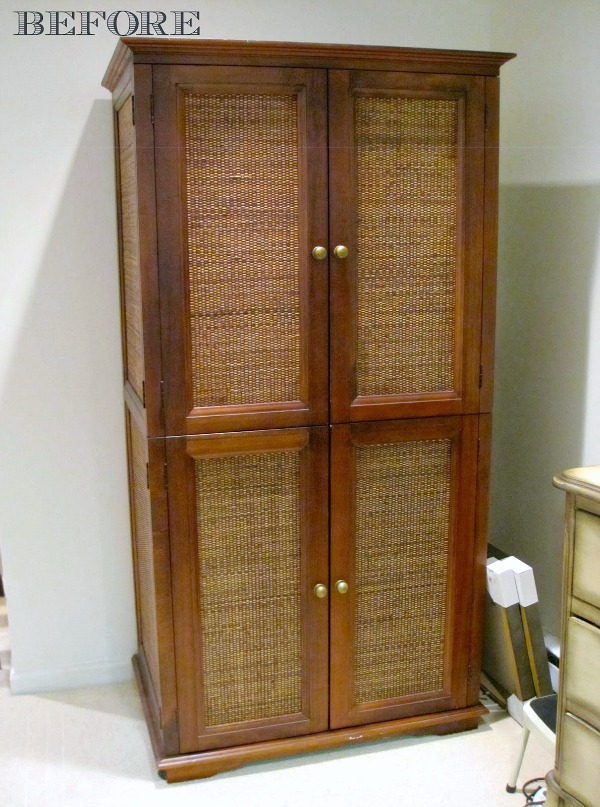 TV armoire before transformation
