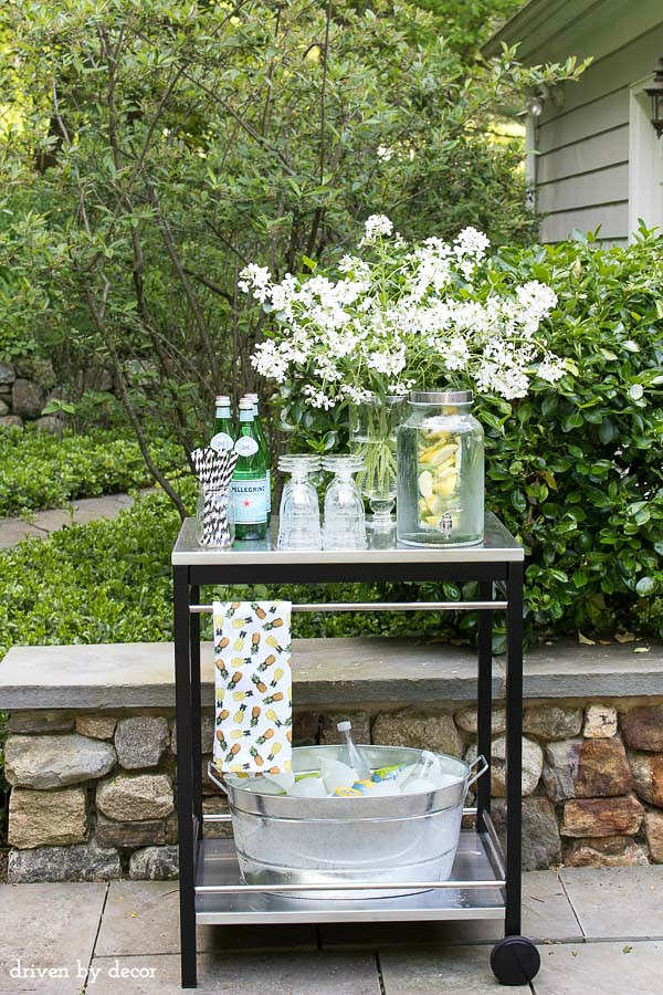 A simple outdoor bar cart (from IKEA!) for entertaining - post includes so many other great IKEA finds too!