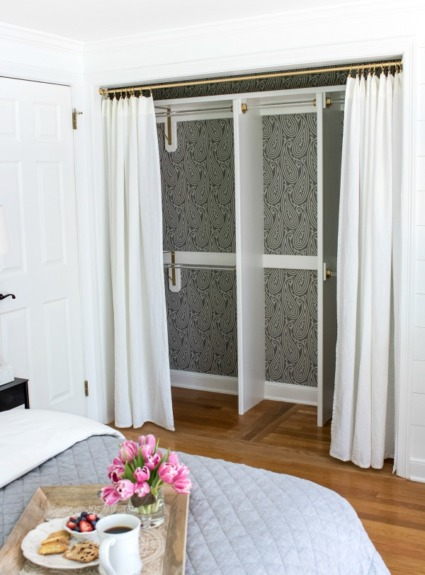 Replacing Bi-fold Closet Doors with Curtains: Our Closet Makeover