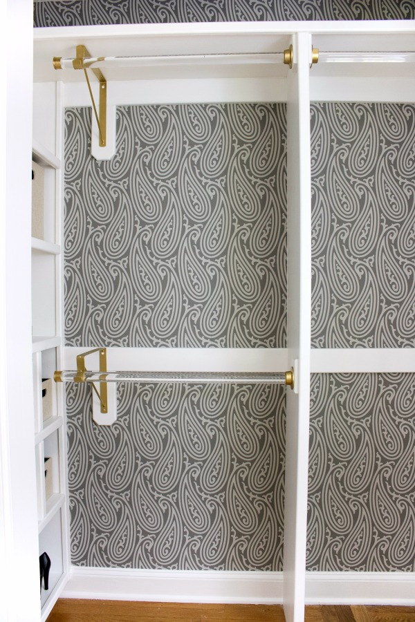 Dying over the Farrow & Ball wallpaper used in this closet remodel - beautiful!