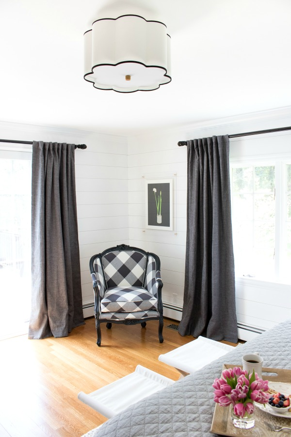 Fabulous flushmount light fixture and LOVE the buffalo check chair!