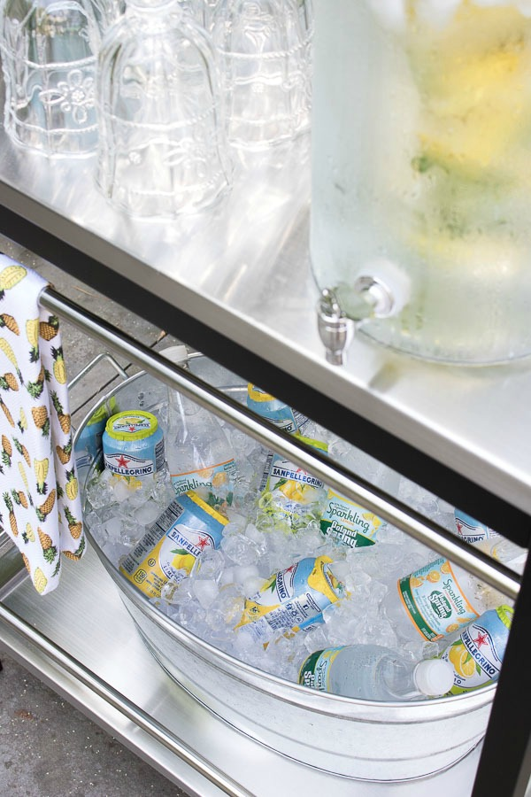 Galvanized troughs and buckets are the perfect outdoor coolers!