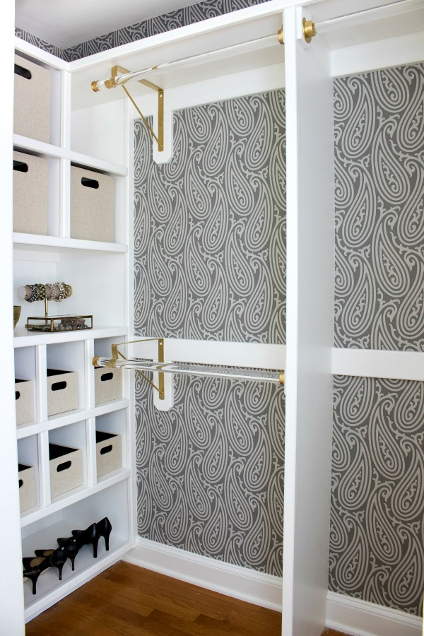 Gorgeous Farrow Ball Wallpaper And Gold Acrylic Rods Are Part Of This Fabulous Closet
