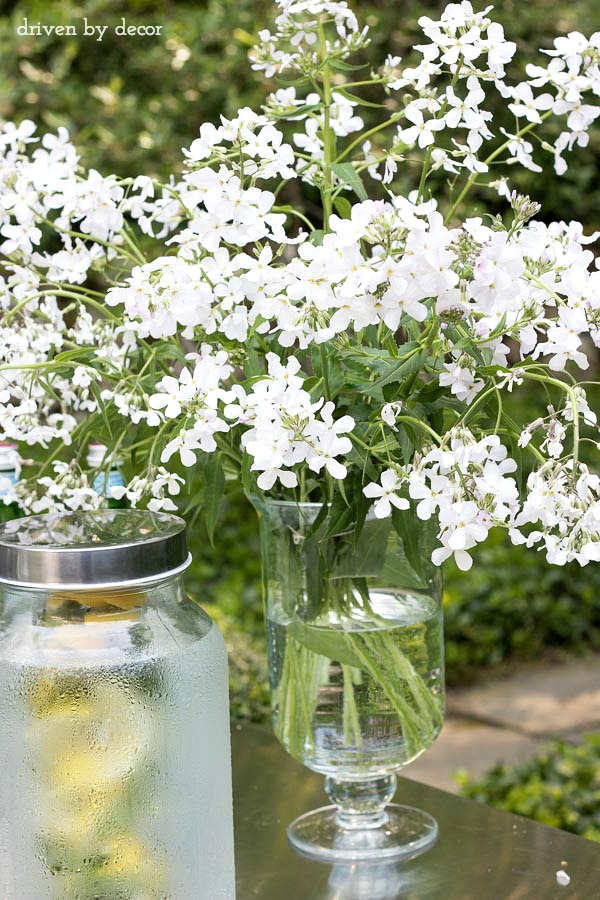 Liven up your outdoor party with a bouquet of weeds (yes, these are weeds!) - one of the great tips for simplifying summer entertaining in this post!