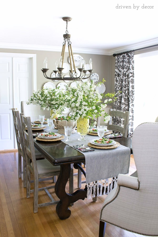 Loving this simple spring tablescape with twin floral centerpieces!