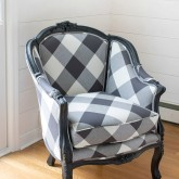 Reupholstered chair in black and white buffalo check - love!