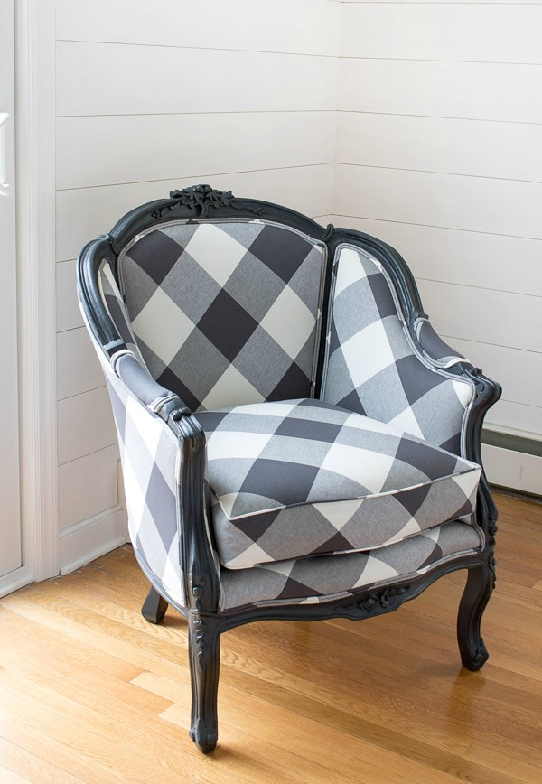 Reupholstered Chair In Black And White Buffalo Check   Love!