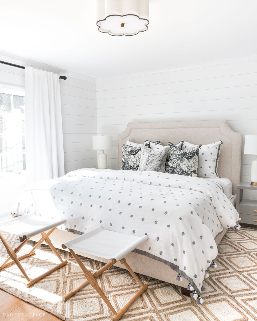Our master bedroom with a soothing neutral color palette