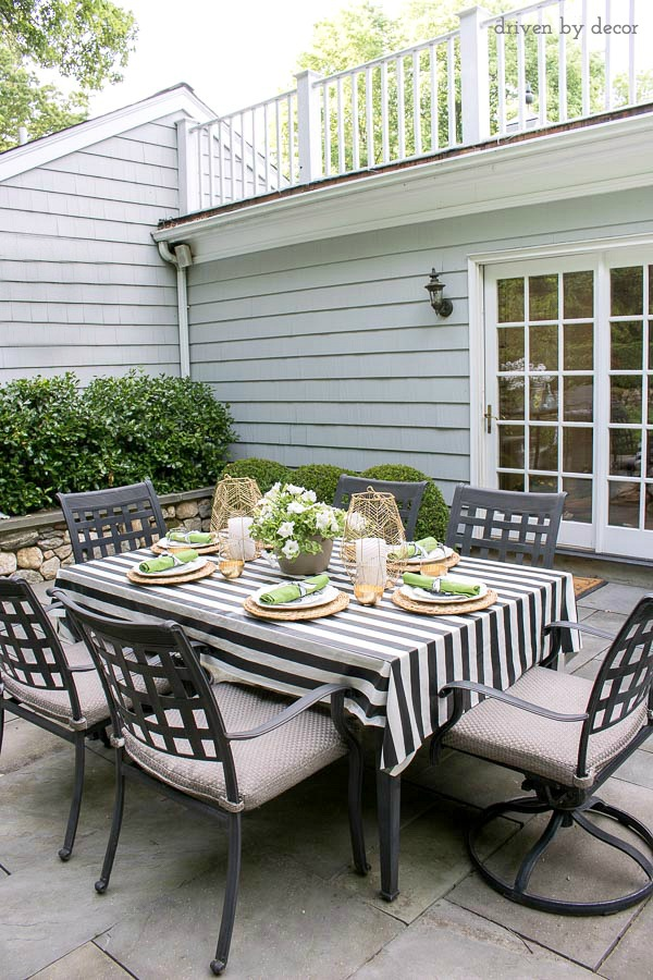 IKEA's SOFIA plastic-coated black and white striped fabric - perfect for a cut-to-size outdoor tablecloth!