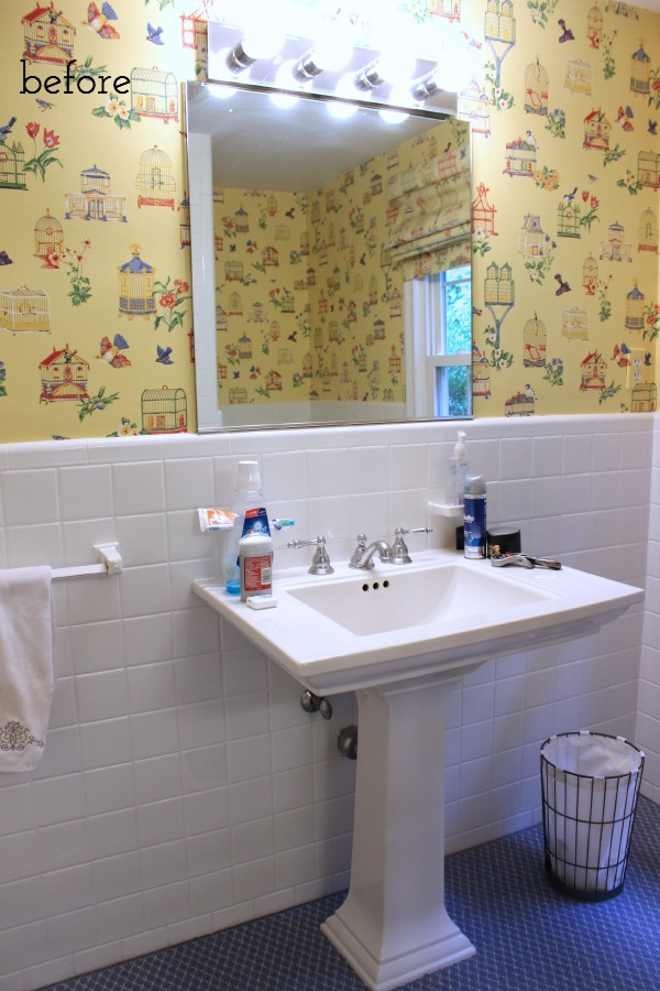 Our powder room before our makeover