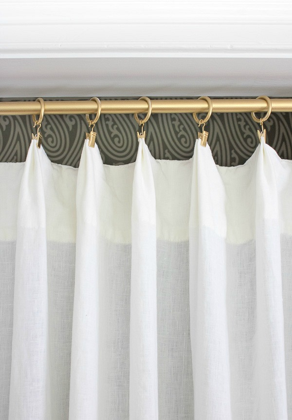 Rod And Curtain Rings Spray Painted Gold As Part Of A Closet Makeover Ditching Those Ugly