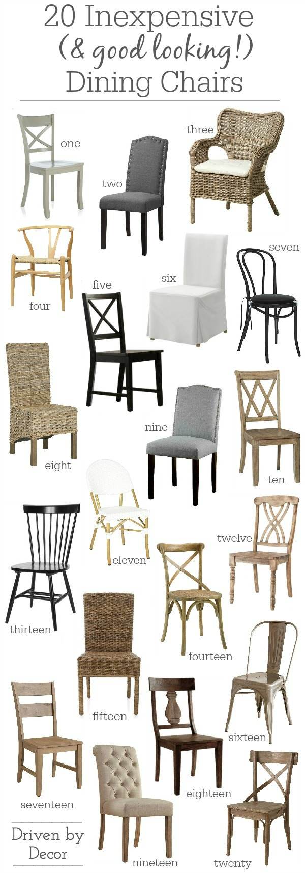 Fabulous round-up of inexpensive but stylish dining side chairs!