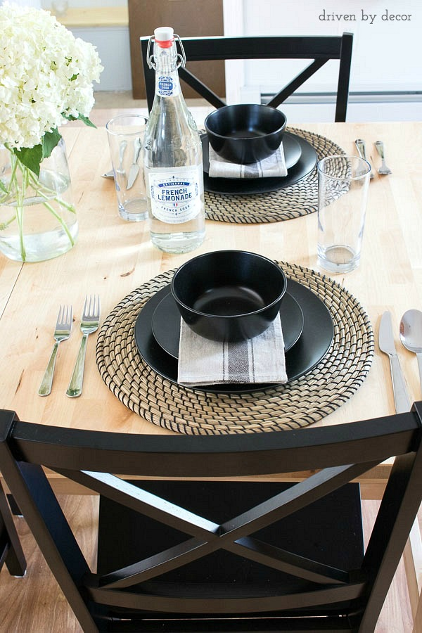 A placesetting created with plates, silverware, napkins, and chargers from IKEA and glasses from Anchor Hocking