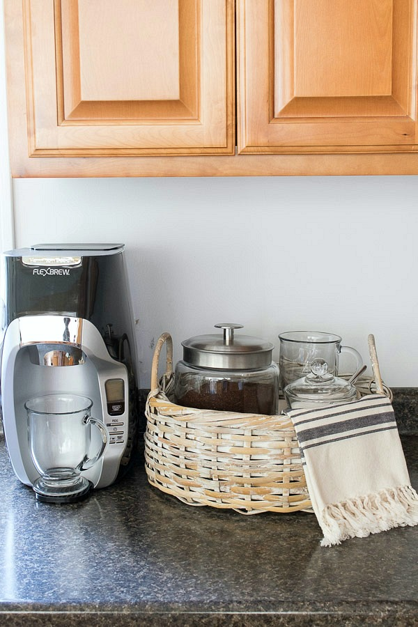 A simple home coffee station using Anchor Hocking's glass coffee cups, canister, and sugar bowl