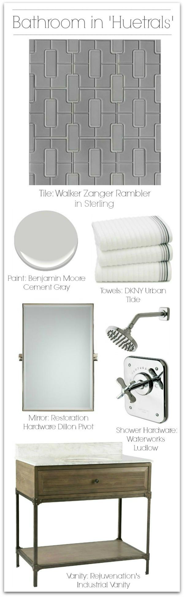 Bathroom design ideas using 'huetrals' in shades of gray